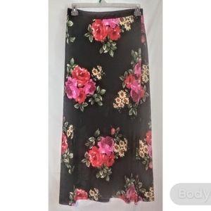 Plus size black floral maxi skirt